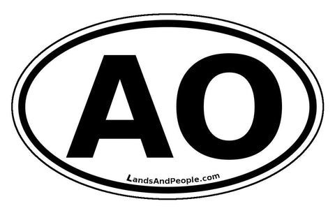 AO Angola Sticker Oval Black and White