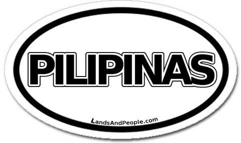 Pilipinas Philippines Sticker Oval Black and White