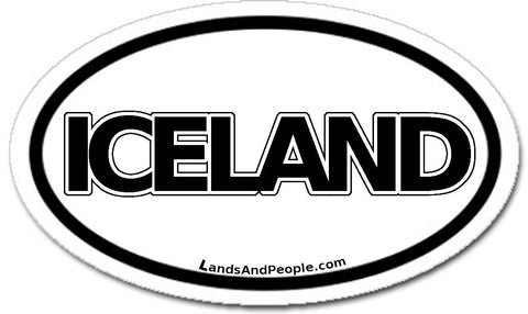 Iceland Sticker Oval Black and White
