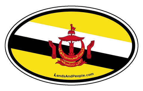 Brunei Flag Sticker Oval