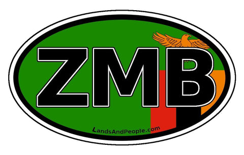 ZMB Zambia Flag Sticker Oval