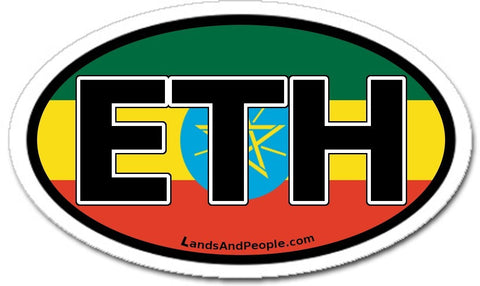 Ethiopia Flag Car Bumper Sticker Decal Oval