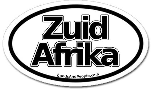 Zuid Afrika in Dutch South Africa Car Sticker Oval Black and White