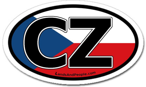 CZ Czech Republic Flag Sticker Decal Oval
