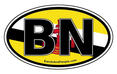 BN Brunei Flag Sticker Oval