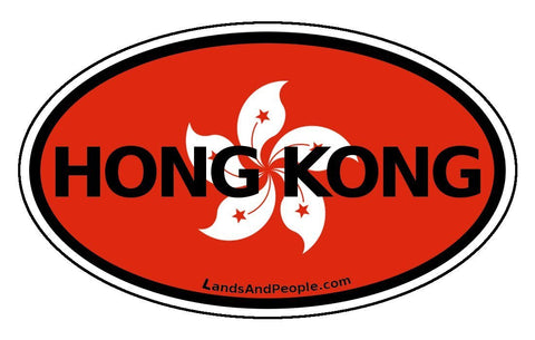 Hong Kong Flag Car Sticker Oval