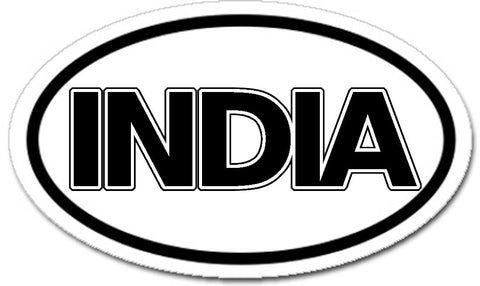 India Sticker Oval Black and White