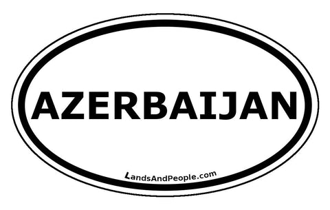 Azerbaijan Sticker Oval Black and White