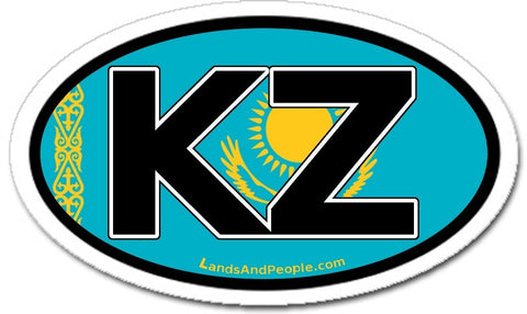 KZ Kazakhstan Flag Sticker Oval