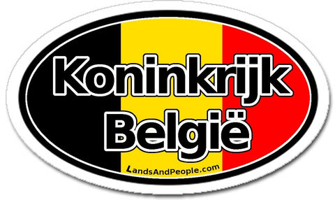 Koninkrijk België - Kingdom of Belgium in Dutch Sticker Oval