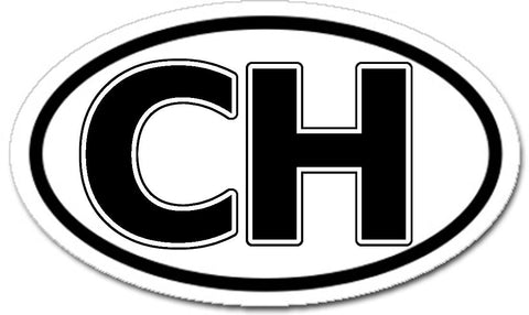 CH Switzerland Swiss Sticker Oval Black and White