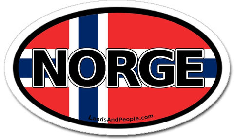 Norge Norway Flag Car Sicker Decal Oval