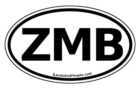 ZMB Zambia Sticker Oval Black and White