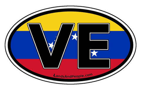 VE Venezuela Flag Car Bumper Sticker Decal