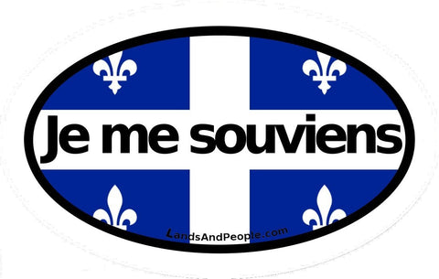 "Flag of Quebec with Quebec's Moto ""Je me souviens"" Car Bumper Sticker Decal Oval"