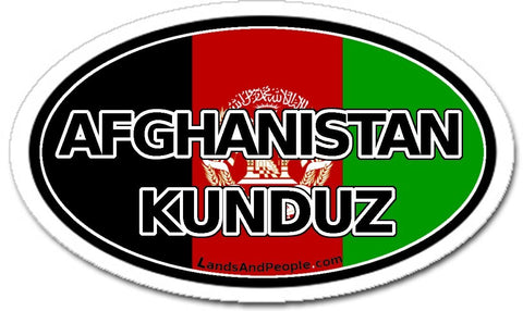Afghanistan Kunduz Flag Sticker Oval