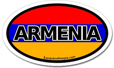 Armenia and Armenian Flag Car Bumper Sticker Oval