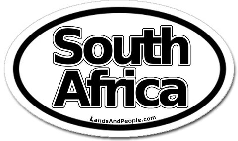 South Africa Car Sticker Oval Black and White