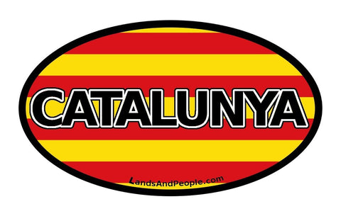 Catalunya, Catalonia in Catalan, Catalonia Flag Sticker Oval