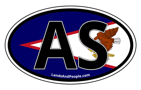 AS American Samoa Car Bumper Sticker Decal