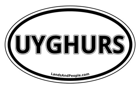 Uyghurs Car Sticker Oval Black and White