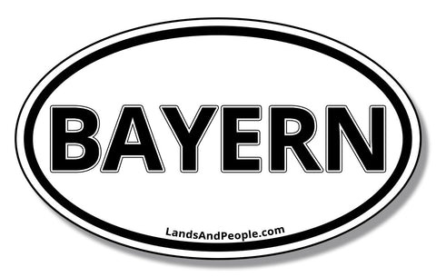 Bayern Bavaria in German Sticker Oval Black and White