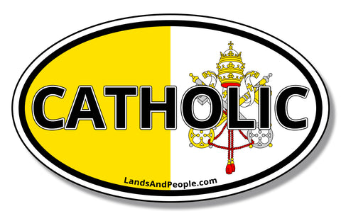 Catholic and Vatican Flag Car Vinyl Sticker Oval