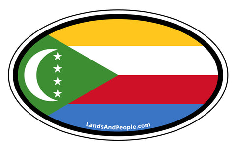 Comoros Flag Car Sticker Decal Oval
