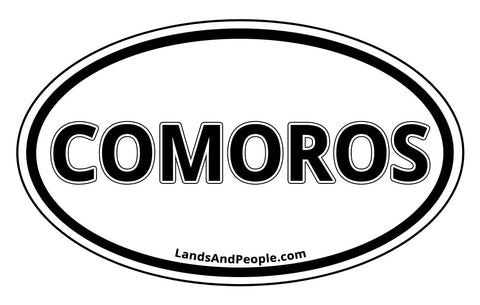 Comoros Car Sticker Decal Oval Black and White