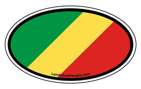 Republic of the Congo Flag Sticker Decal Oval