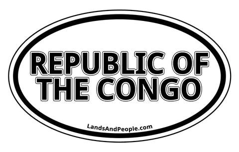 Republic of the Congo Sticker Decal Oval Black and White