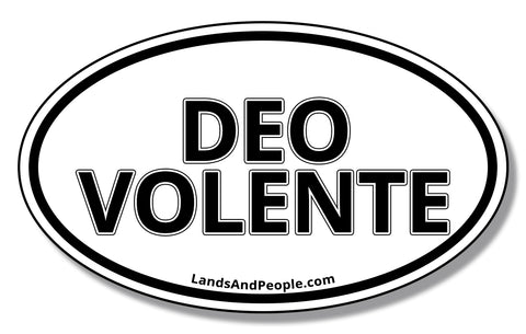 Deo Volente, God Willing in Latin, Sticker Decal Oval