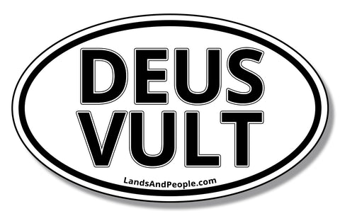 "Deus Vult, ""God Wills It"" in Latin, Sticker Decal Oval"