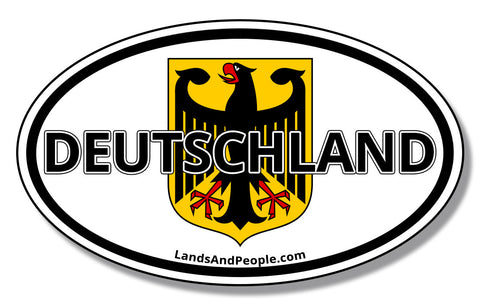 Deutschland German Flag and Eagle Bundesadler Car Sticker Oval