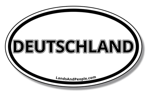 Deutschland Car Vinyl Sticker Oval Black and White