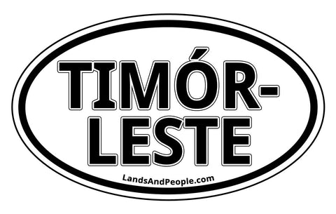Timór-Leste East Timor Car Sticker Oval Black and White