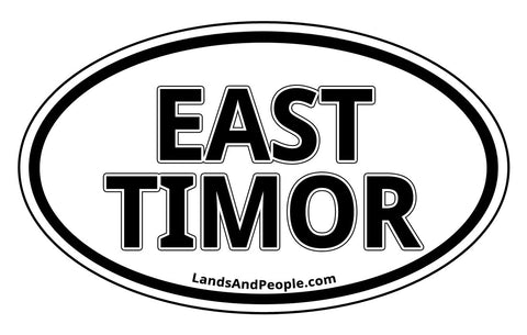 East Timor Car Sticker Oval Black and White