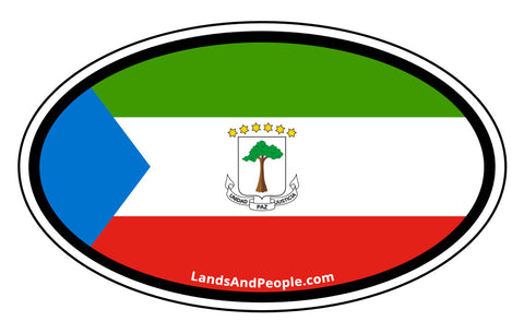 Equatorial Guinea Flag Car Bumper Sticker Oval