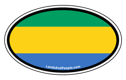 Gabon Flag Sticker Oval
