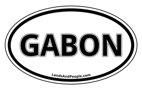Gabon Sticker Oval Black and White