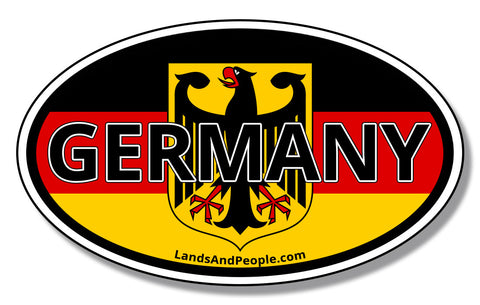 Germany Flag and Eagle Bundesadler Coat of Arms of Federal Republic Car Sticker Oval