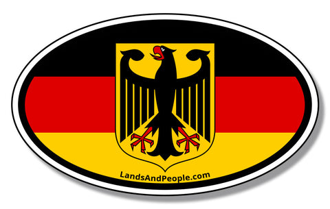 German Flag Eagle Bundesadler Federal Republic Car Sticker Oval