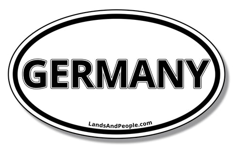 Germany Oval Car Sticker Black and White