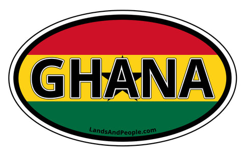 Ghana Flag Sticker Decal Oval