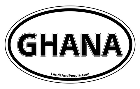 Ghana Sticker Decal Oval Black and White