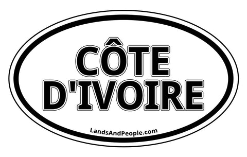 Côte d'Ivoire Ivory Coast Sticker Decal Oval Black and White