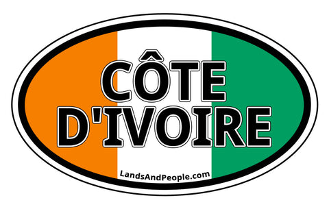 Côte d'Ivoire Ivory Coast Flag Sticker Decal Oval