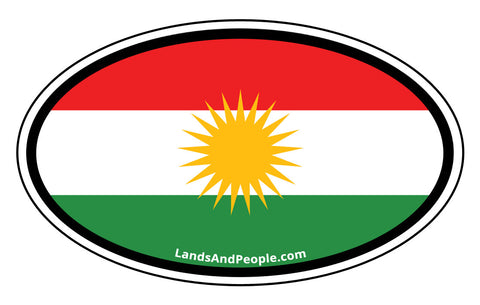 Kurdistan Flag Sticker Oval