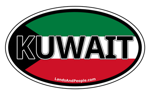 Kuwait Flag Car Sticker Oval