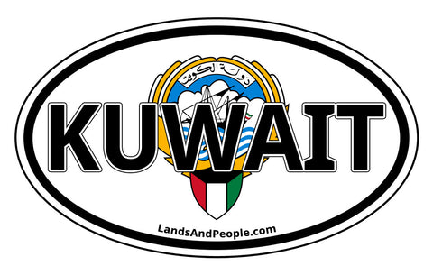 Kuwait Coat of Arms Car Sticker Oval